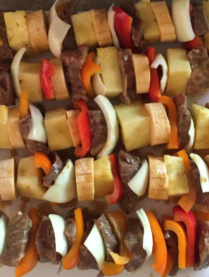 Beef Fruit and Vegetable Kabobs