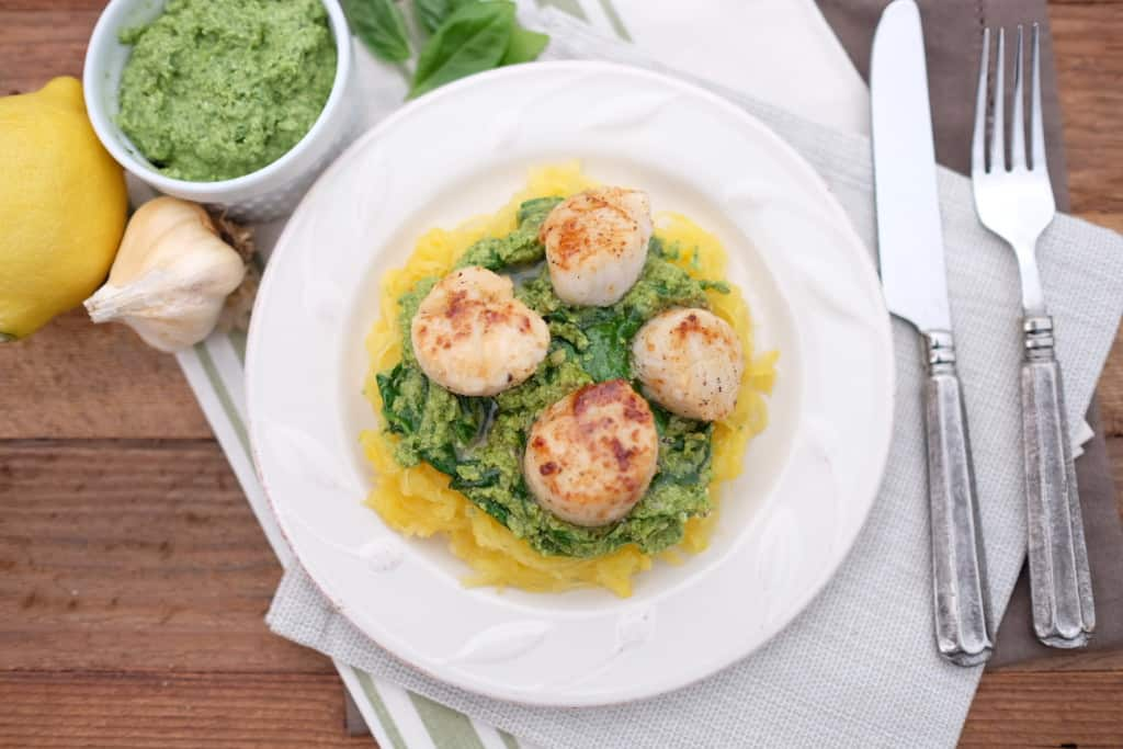 Seared Scallops with Pesto and Spaghetti Squash