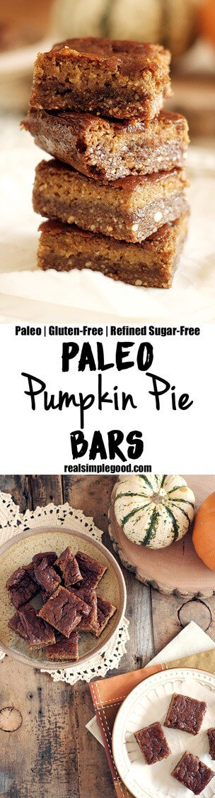 These pumpkin pie bars have a nutty and salty-sweet crust with a pumpkin pie filling. They are essentially fall all wrapped up into tasty little bars. Paleo, Gluten-Free, and Refined Sugar-Free. | realsimplegood.com