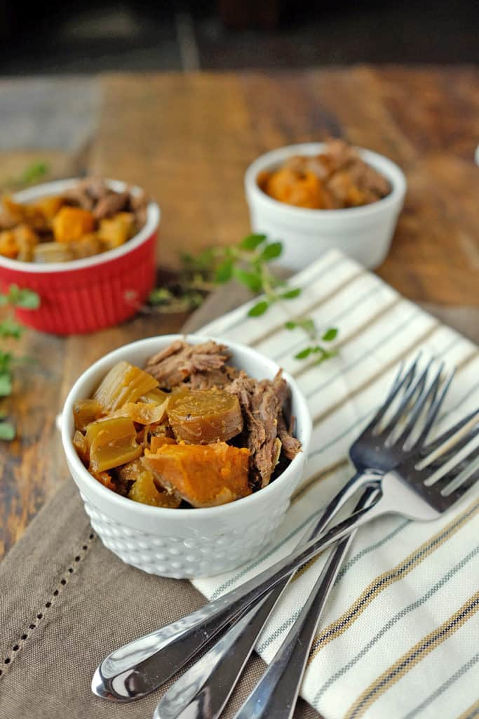 One of my favorite things to make in the slow cooker has turned out to be crockpot beef roast and veggies. Make a tougher cut of beef tender and juicy and enjoy a full meal without all the work! Fall apart roast with carrots, onion, sweet potato, and celery. Paleo and Gluten-Free. | realsimplegood.com