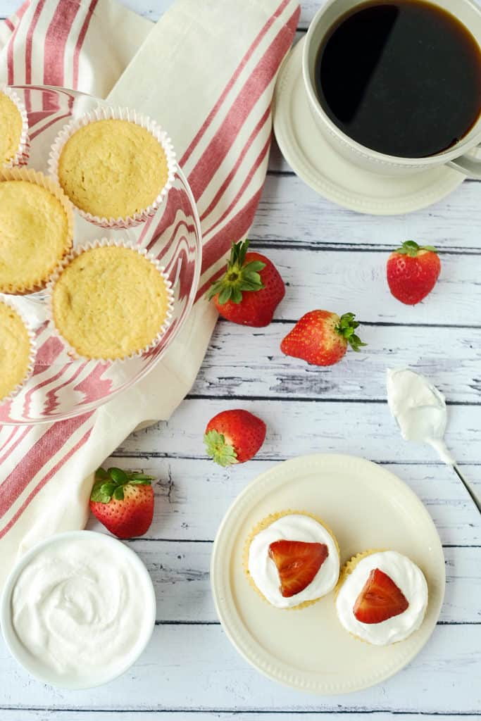 Balsamic strawberry topped lemon cupcakes