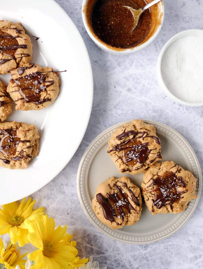 Salted Caramel Thumbprint Cookies (GF, Dairy-Free + Refined Sugar-Free)