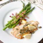Pan fried cod with pesto asparagus