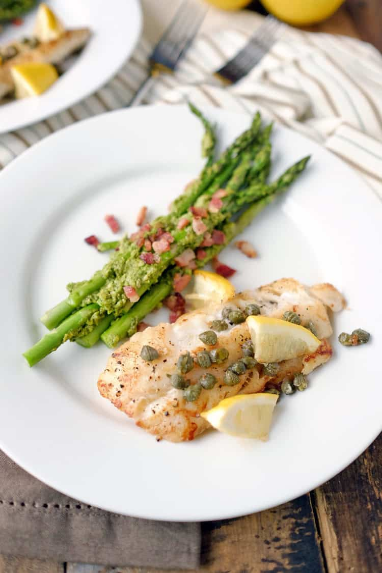 Pan fried cod with pesto bacon asparagus paleo whole30 for Fried cod fish recipes