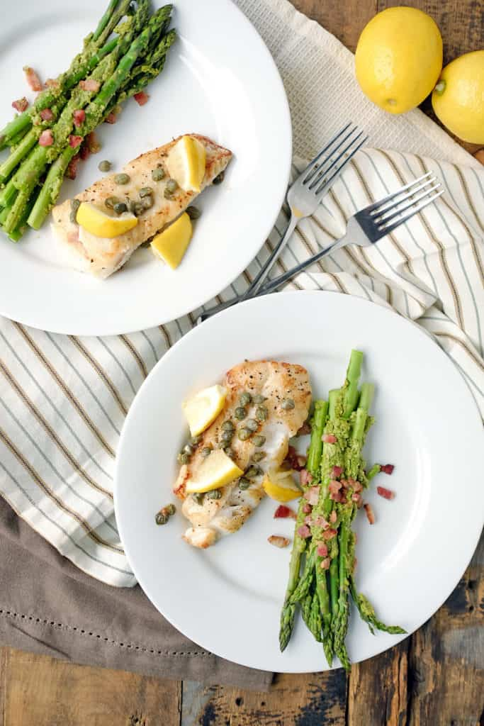 Need a speedy weeknight meal that feels like you put in more time and effort? This Paleo + Whole30 pan fried cod with pesto bacon asparagus is exactly that! Paleo + Whole30. | realsimplegood.com