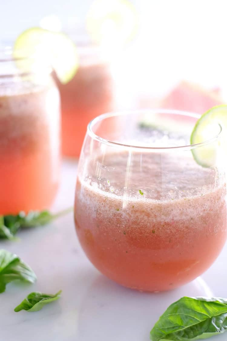 Strawberry Basil Watermelon Agua Fresca (Refined Sugar-Free)