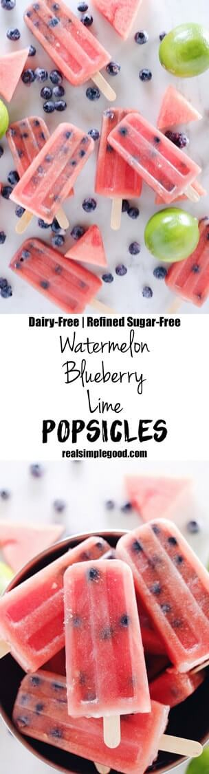 These watermelon blueberry lime popsicles are not only made with real fruit but are also dairy-free and refined sugar-free which makes them a sinless treat! Paleo, Dairy-Free +Refined Sugar-Free. | realsimplegood.com