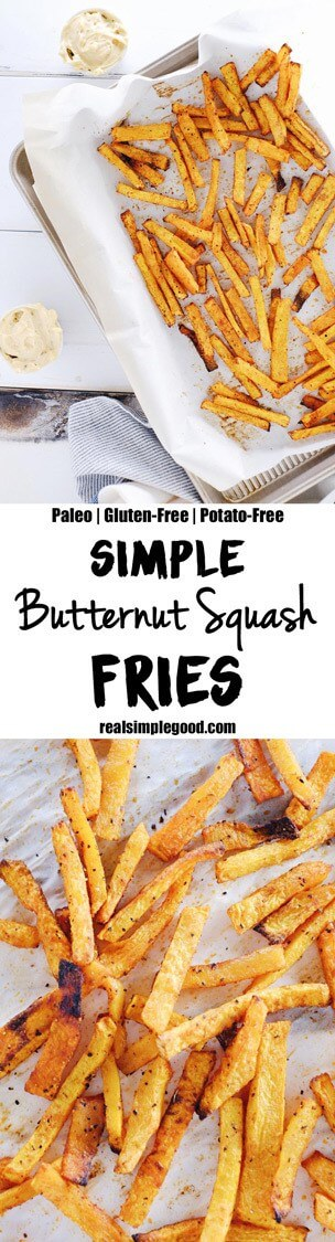 Only five ingredients and you'll enjoy a batch of delicious Paleo + Whole30 butternut squash fries. Just add avocado oil, smoked paprika, salt and pepper. Paleo, Whole30, Gluten-Free + Potato-Free. | realsimplegood.com