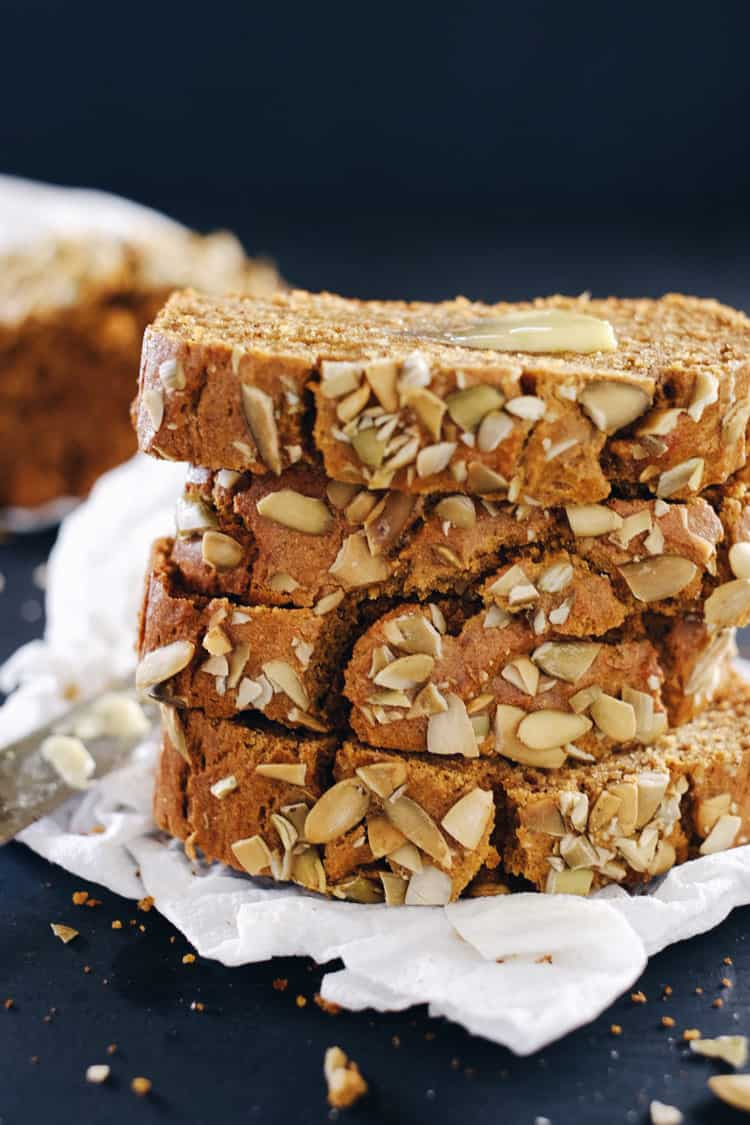 Fall is the season of pumpkin, and for me, this Paleo pumpkin bread. It feels like pumpkin spice is taking over the world, and I'm not mad about it! Paleo, Gluten-Free, Dairy-Free, Refined Sugar-Free + Nut-Free. | realsimplegood.com