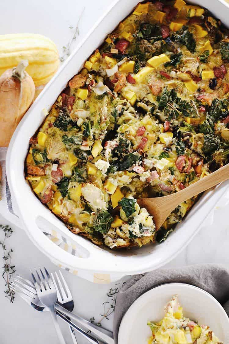 Our Paleo + Whole30 autumn breakfast casserole is full of fall flavors with kale, brussels sprouts, mushrooms, winter squash, leeks, eggs and sausage. Paleo, Whole30, Gluten-Free + Dairy-Free. | realsimplegood.com
