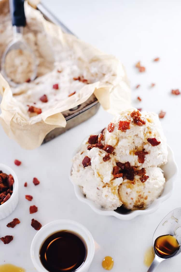 This bacon topped date ice cream is like breakfast met dessert. The crumbles of bacon on top with a little drizzle of maple syrup make it absolutely unreal. Paleo, Gluten-Free, Dairy-Free + Refined Sugar-Free.   realsimplegood.com