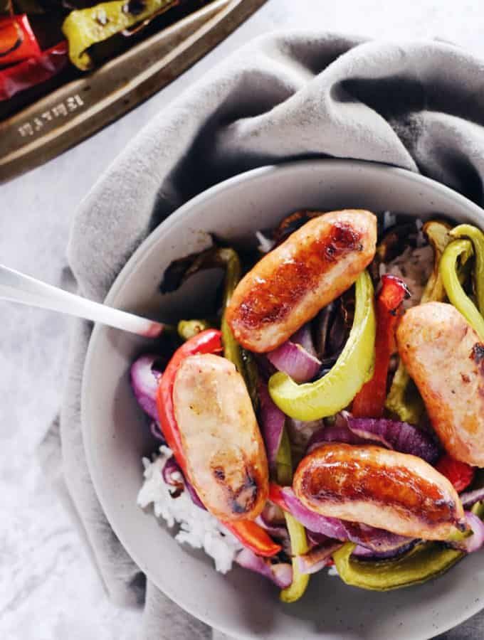 One Pan Italian Sausage with Onions and Peppers (Paleo + Whole30)