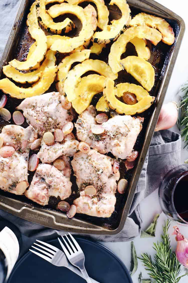 One pan Paleo + Whole30 meals are such a lifesaver! This sheet pan chicken and squash dinner is perfect for the fall and winter. Paleo, Whole30, Gluten-Free + Dairy-Free. | realsimplegood.com