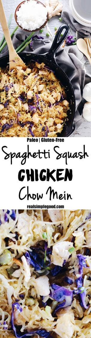 Do you ever want the flavors of take out, but way healthier?! This spaghetti squash chicken chow mein is legit with all the flavor and none of the nonsense! Paleo + Gluten-Free. | realsimplegood.com