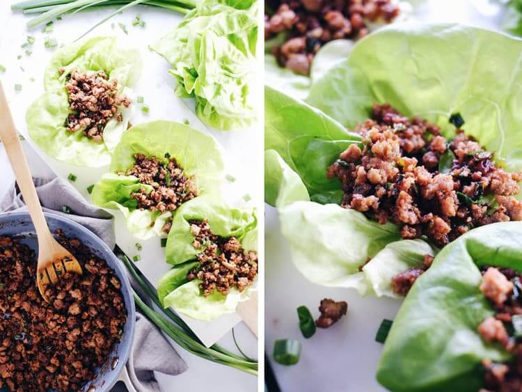 These pork lettuce wraps are super tasty and real quick to make, which is pretty much the best combo! Seriously though, 15 minutes and seven ingredients! Paleo, Gluten-Free + Soy-Free. | realsimplegood.com