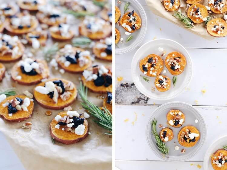 We love making something appear fancy with little effort! These roasted sweet potato bites are exactly that and perfect for all your holiday gatherings! Gluten-Free, Clean + Easy. | realsimplegood.com