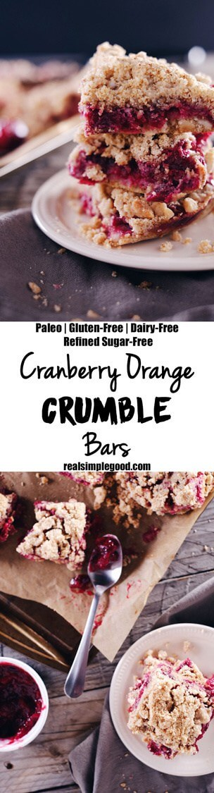 The vibrant color of these cranberry orange crumble bars feels so festive, making them a holiday favorite! Allergy-free and so buttery and delicious! Paleo, Gluten-Free, Dairy-Free + Refined Sugar-Free. | realsimplegood.com