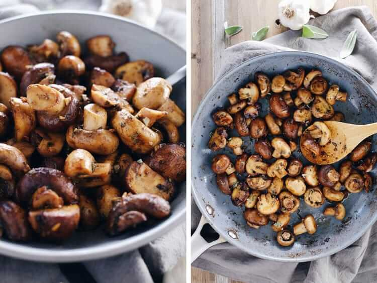 Looking for an easy and delicious side dish!?! Check out these garlic and sage brown butter mushrooms! They are extra tasty and go great with any protein! Paleo + Gluten-Free. | realsimplegood.com