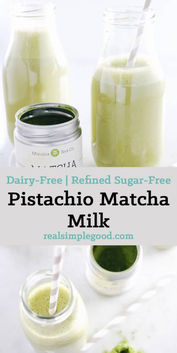 Caffeine junkie, but hate the spikes in energy? This pistachio matcha milk is for you! It will give you slow burn energy and lots of antioxidants! Paleo, Dairy-Free + Refined Sugar-Free. | realsimplegood.com