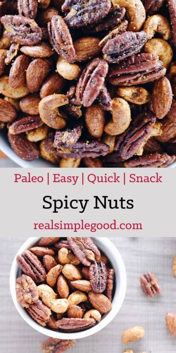 These spicy nuts are a Paleo friendly way to enjoy mixed nuts for a snack. They are roasted in healthy fats with a simple blend of spices and seasonings. Paleo, Gluten-Free + Sugar-Free. | realsimplegood.com