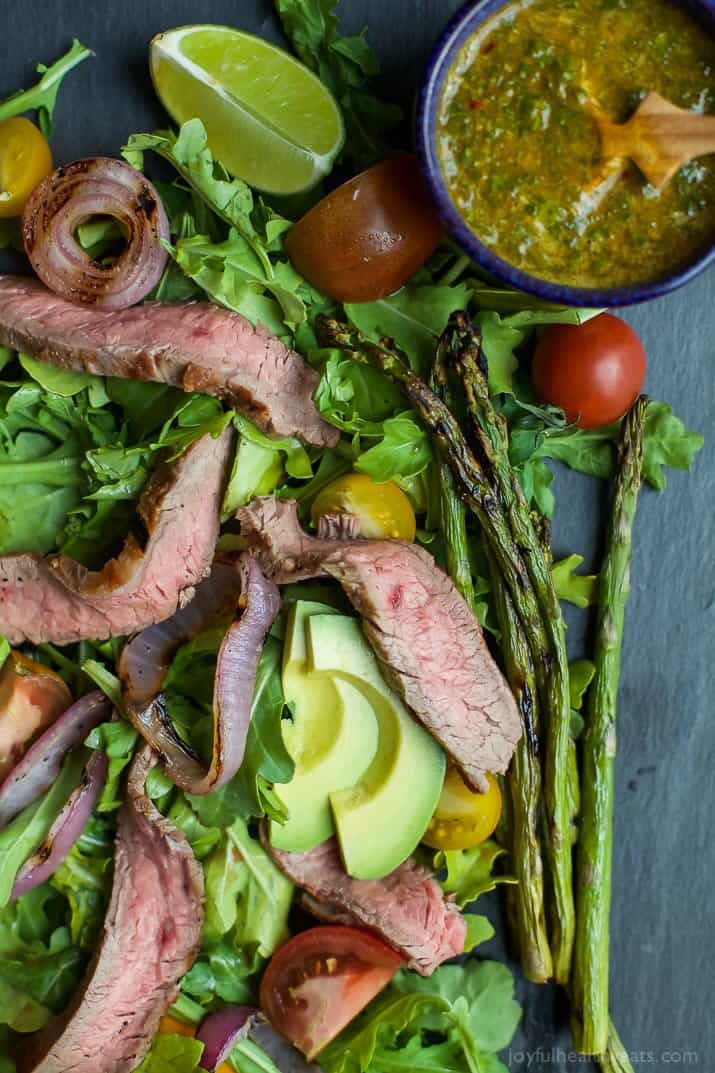 california steak salad with chimichurri dressing via joyful healthy ...