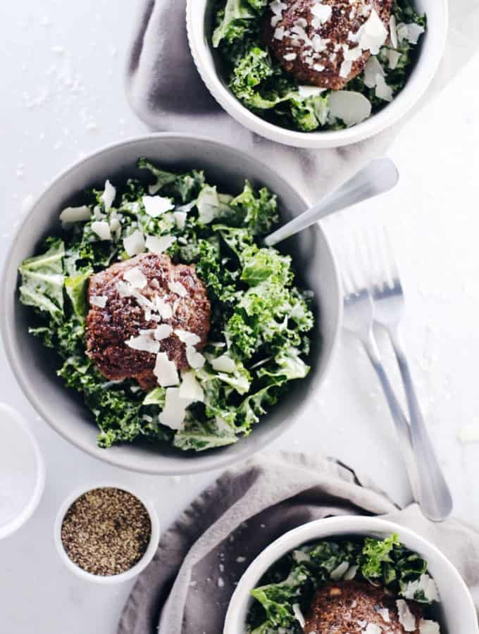 Kale Caesar Burger Bowl (Paleo, GF + Whole30)
