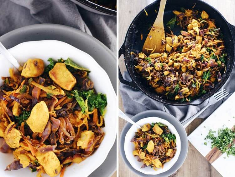 This one pan turmeric chicken skillet has a unique blend of flavors and feels like a new way to enjoy chicken with powerful anti-inflammatory benefits. Paleo, Gluten-Free + Dairy-Free. | realsimplegood.com