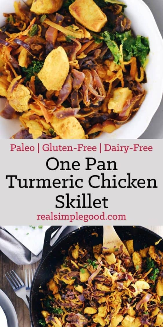 This one pan turmeric chicken skillet has a unique blend of flavors and is a Paleo + Whole30 way to enjoy chicken with powerful anti-inflammatory benefits. Paleo, Whole30, Gluten-Free + Dairy-Free. | realsimplegood.com