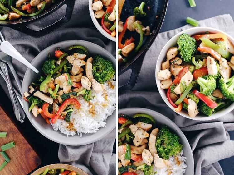 As far as Paleo makeovers go, this teriyaki chicken stir-fry was due! It's super simple, yet bursting with flavor from the garlic, ginger and fresh veggies! Paleo, GF, Soy-Free + Refined Sugar-Free. | realsimplegood.com