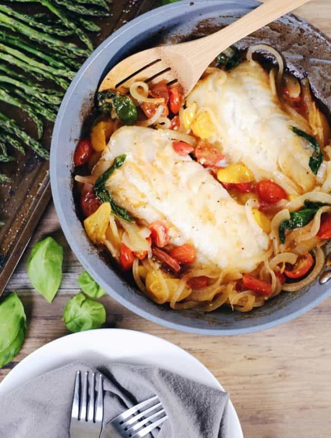 Tomato Basil Cod with Asparagus (Paleo, GF + Dairy-Optional)