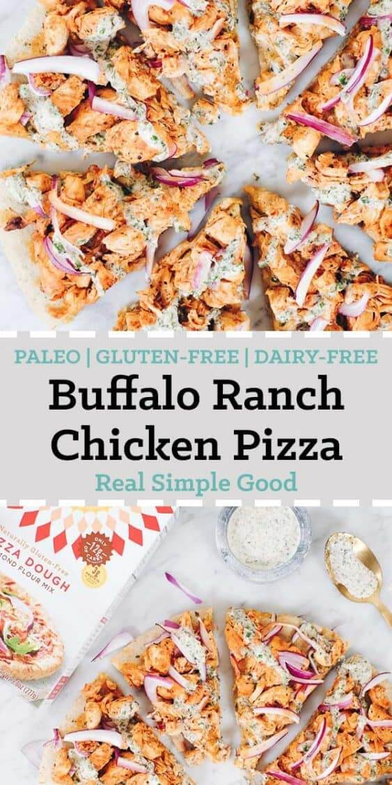 Pizza time!! Buffalo ranch chicken pizza to be specific! Enjoy this Paleo, gluten free and dairy free pizza recipe featuring Simple Mills pizza dough mix! | realsimplegood.com