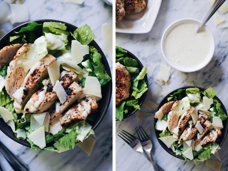 These Caesar Turkey Burger Bowls are really the perfect bowl meal though, and you will love the Paleo and Whole30 compliant caesar dressing. Paleo + Whole30 Option. | realsimplegood.com