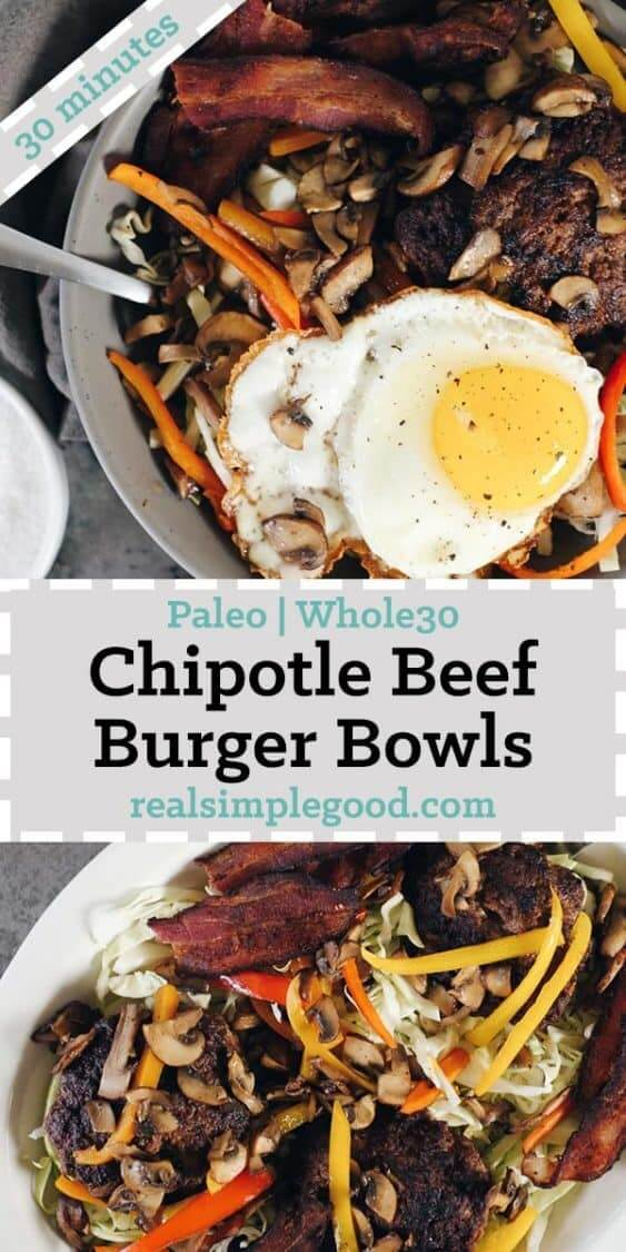 These chipotle beef Paleo burger bowls are a quick and easy meal you'll love. They're a tasty new spin on a traditional burger, with colorful toppings! Paleo + Whole30 | realsimplegood.com