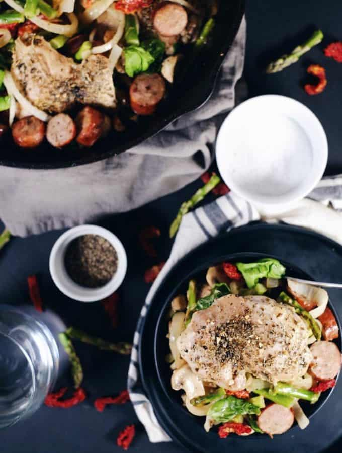 Creamy Sun Dried Tomato Chicken And Sausage Skillet (Paleo, Whole30 + Dairy-Free)