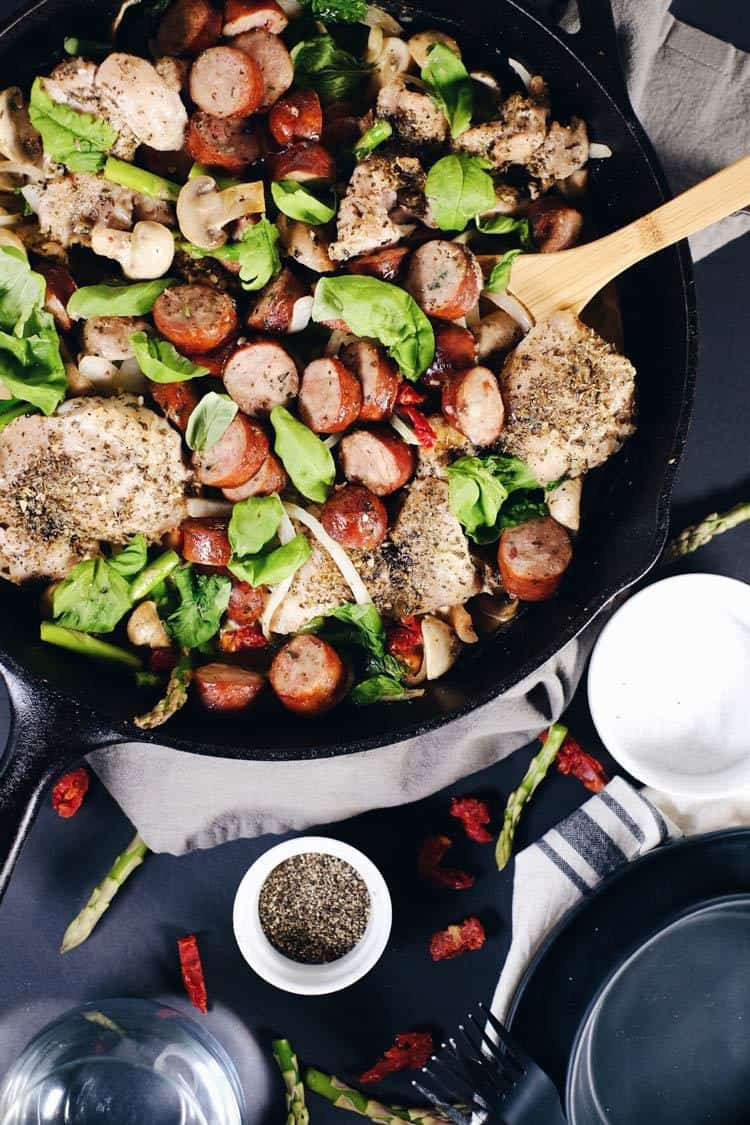 Chicken, sausage, sun dried tomatoes and veggies smothered in a velvety sauce. This creamy sun dried tomato chicken and sausage skillet is Whole30 + Paleo! Paleo, Whole30, Gluten-Free + Dairy-Free. | realsimplegood.com