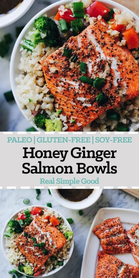 These honey ginger salmon bowls are not only a tasty way to enjoy salmon, but also quick and easy to make! They are Paleo, Gluten-Free and Soy-Free. | realsimplegood.com