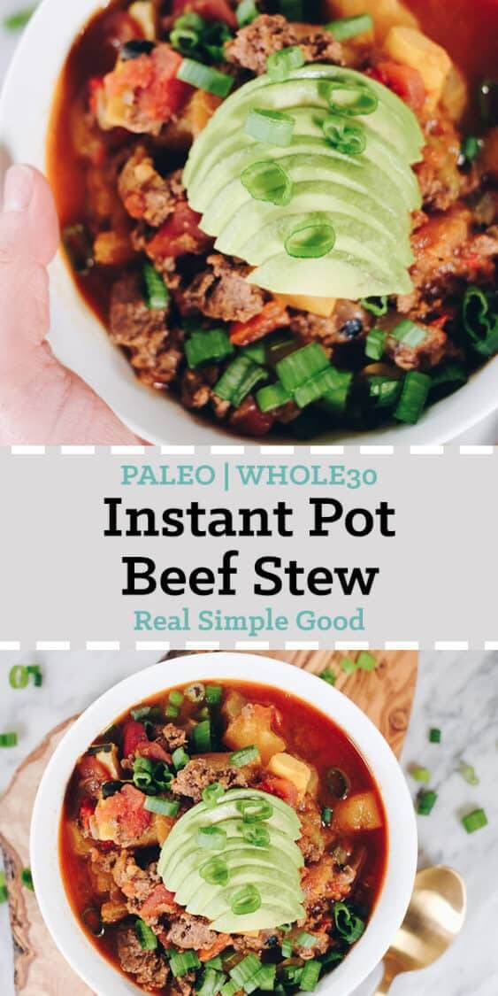 Add this Paleo and Whole30 Instant Pot Beef Stew to your agenda, it's an easy and tasty one you can enjoy all year long. It's packed with vegetables and you can top it with healthy fats and chopped green onion. #paleo #whole30 #instantpot #crockpot | realsimplegood.com