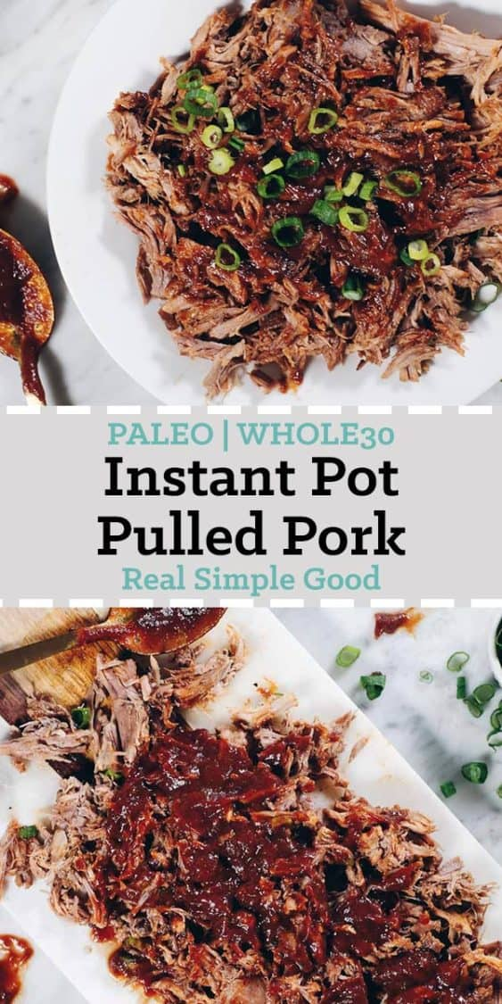 This Instant Pot Whole30 Pulled Pork with BBQ Sauce is the perfect way to utilize your Instant Pot! Also, we made the yummiest Whole30 friendly BBQ Sauce!   realsimplegood.com