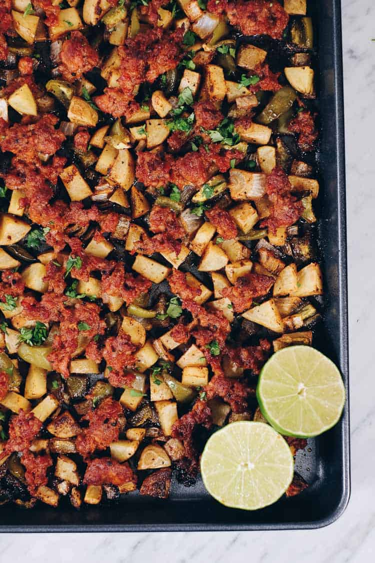 Spend a little time making thisPaleo and Whole30 One Pan Chorizo Breakfast Bake. Just re-heat it for breakfast. Trust us, your morning self will thank you! | realsimplegood.com