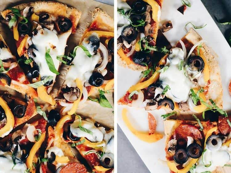 This Paleo pizza recipe is delicious and also uncomplicated and easily customized. The crust is buttery and a little flaky, yet strong enough to pick up! Paleo, Grain-Free and Dairy-Optional | realsimplegood.com