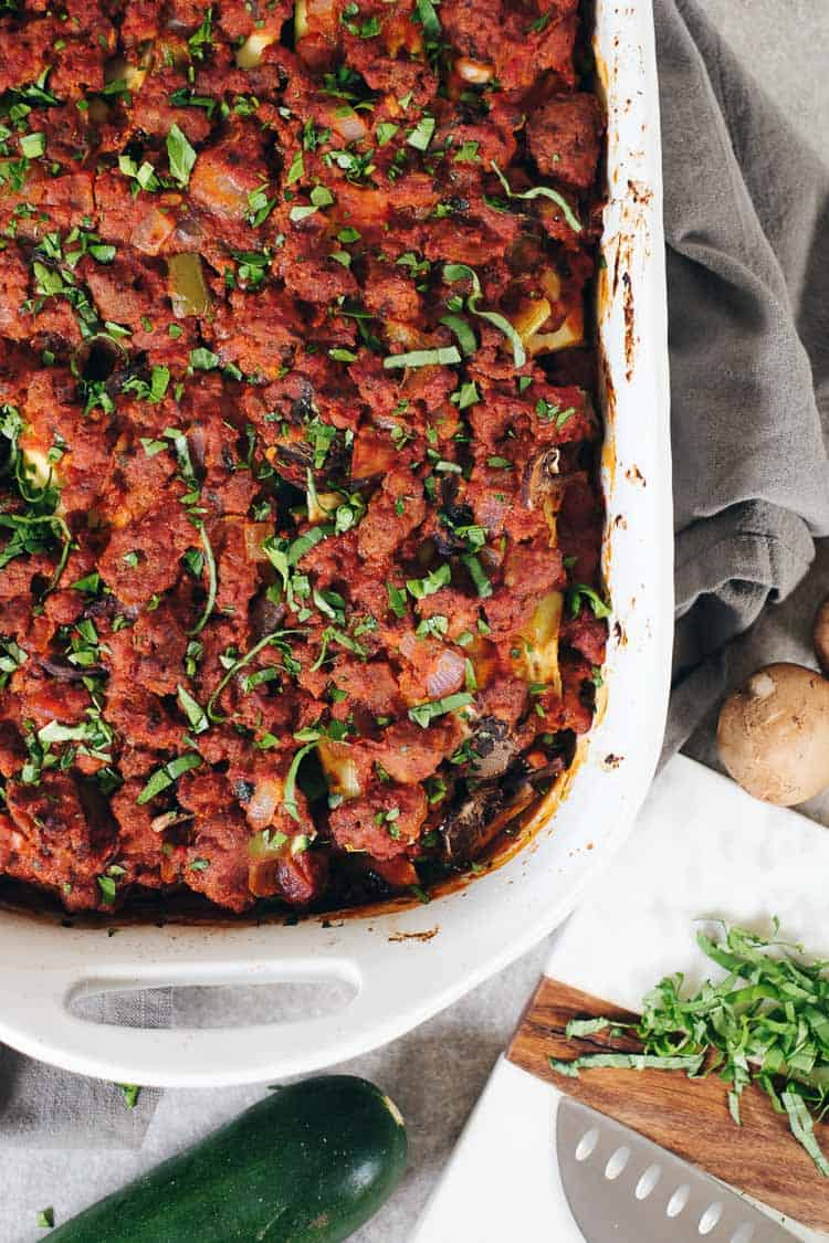 This Whole30 compliant Paleo zucchini lasagna is a delicious way to use up zucchini in your garden! Skip the bloat and enjoy this real food lasagna recipe! | realsimplegood.com