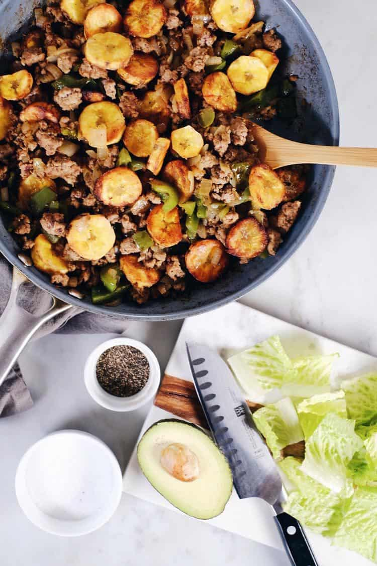 Pork and plantains are just meant to go together, and this pork and plantain bowl is simple and delicious. With few ingredients this dish packs big flavor! Paleo, Gluten-Free + Dairy-Free. | realsimplegood.com