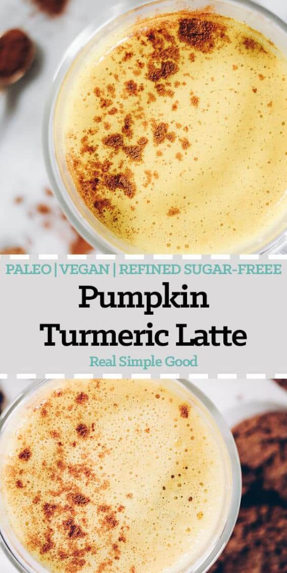 This dairy-free Pumpkin Turmeric Latte is the perfect caffeine-free beverage to snuggle up with over the holidays It's got all your favorite fall flavors! Paleo, Vegan + Refined Sugar-Free. | realsimplegood.com