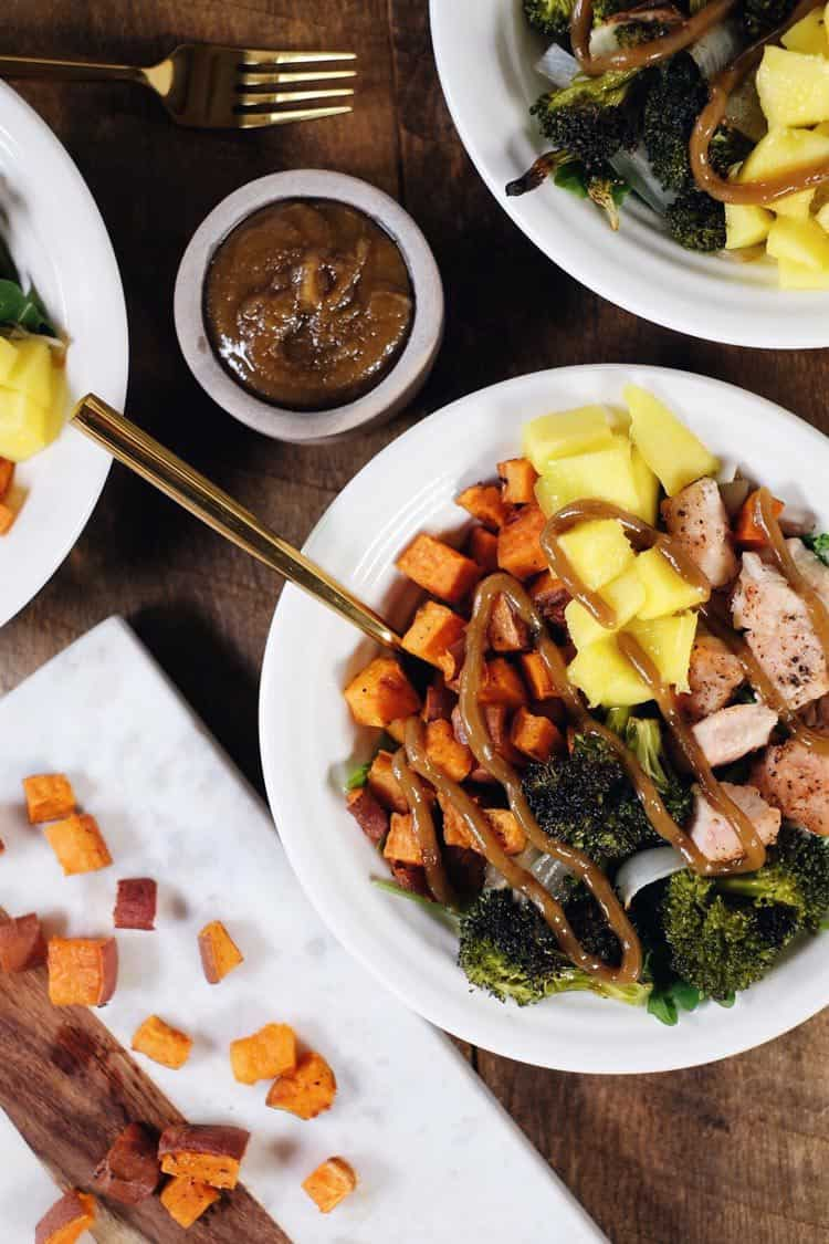 Go ahead and make these delicious sheet pan chicken buddha bowls! The perfect Paleo + Whole30 meal for making ahead of time for leftovers! Chicken, broccoli, sweet potato, mango, onion and tahini sauce. Paleo + Whole30.   realsimplegood.com