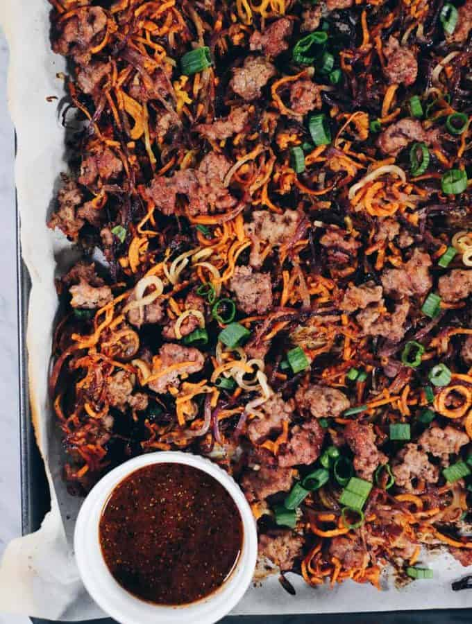 Sheet Pan Crispy Vegetable Noodles and Pork (Paleo + Whole30)