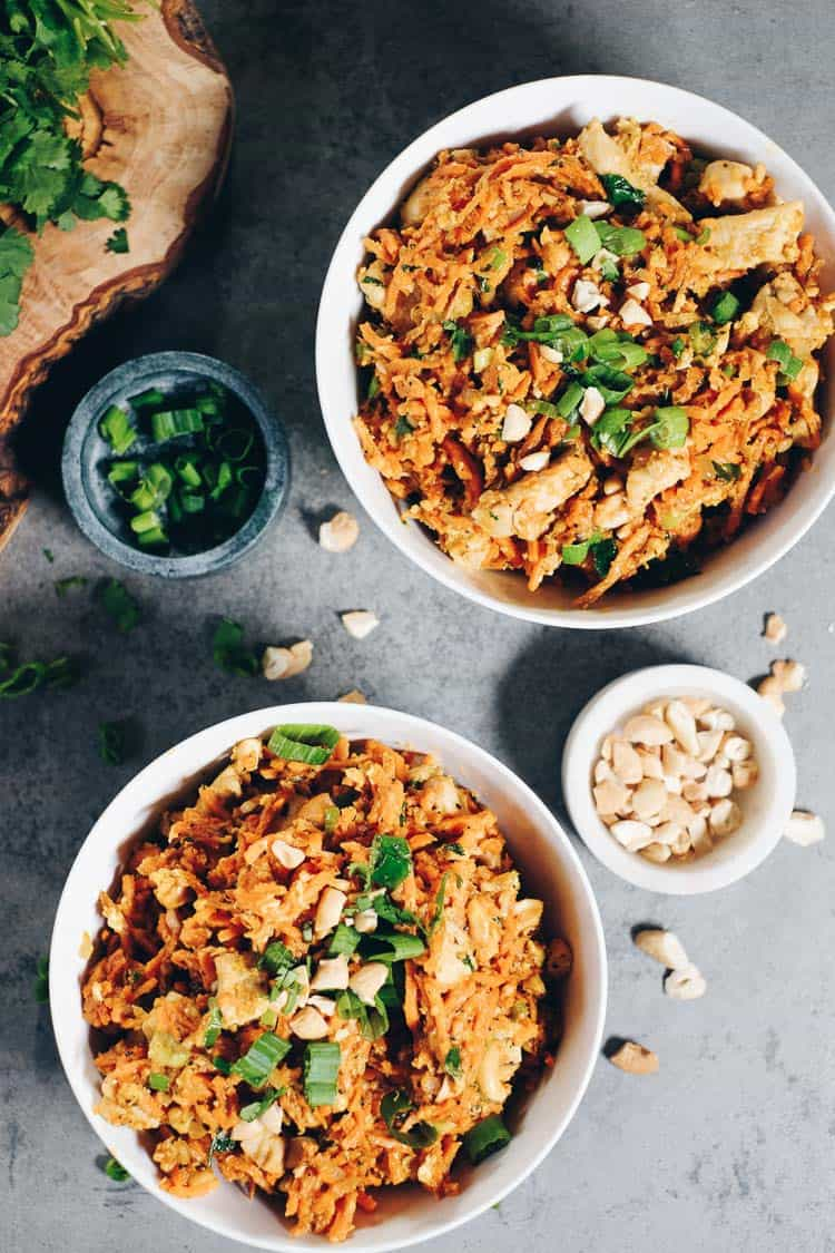 Sweet potato chicken pad thai paleo whole30 for Healthy chicken pad thai