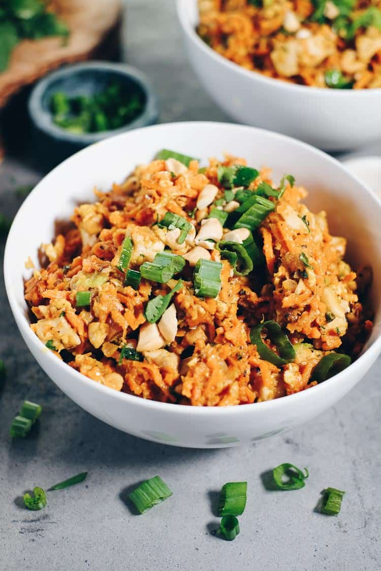 Our Paleo + Whole30 Sweet Potato Chicken Pad Thai has healthy sweet potato noodles, creamy cashew butter and coconut aminos. You'll love the cozy vibes. #paleo #whole30 #recipe   realsimplegood.com