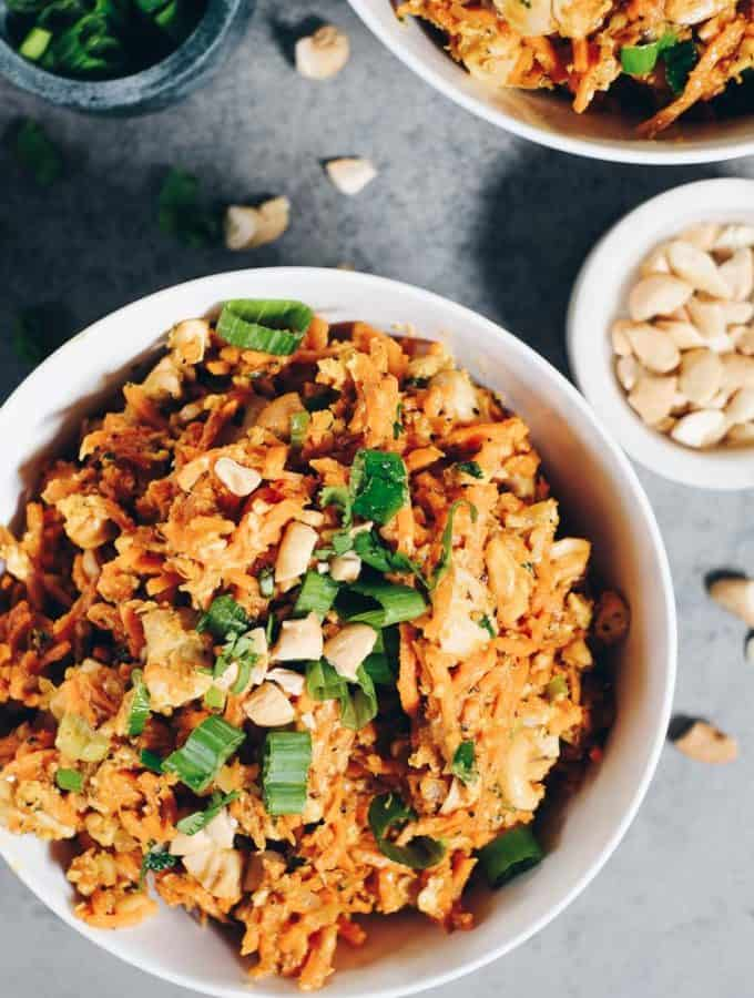 Sweet Potato Chicken Pad Thai (Paleo + Whole30)