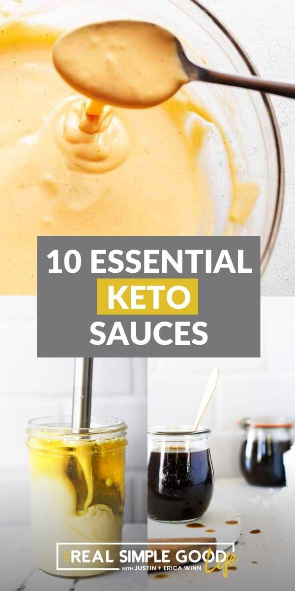 Collage picture with keto cheese sauce, mayo and stir fry sauce. Text overlay in middle