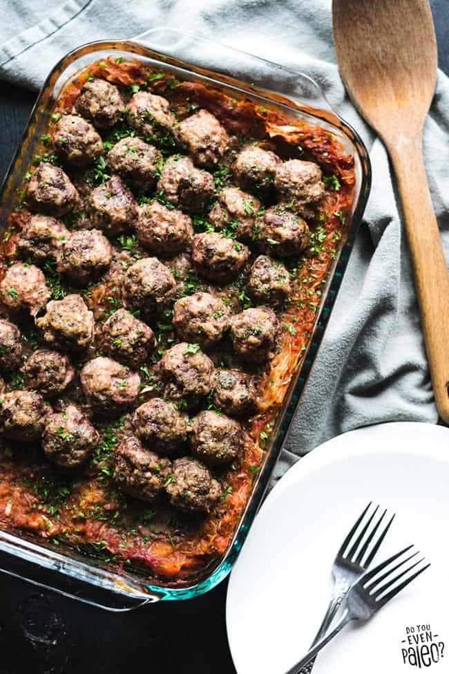Spaghetti squash and meatball casserole overhead shot with spoon and forks - healthy casseroles